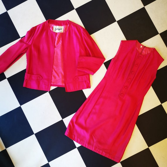 Stunning Fuchsia Hot Pink 1960s Dress & Jacket Twin Set