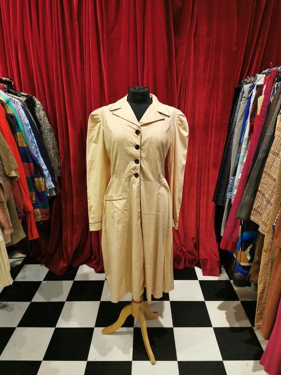 Vintage 1940s Beige Light Brown French Workwear F… - image 1