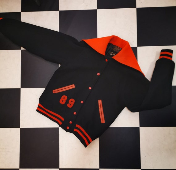 Vintage 1950s 1960s Black & Orange Hooded Collar Varsity Cheerleader Jacket