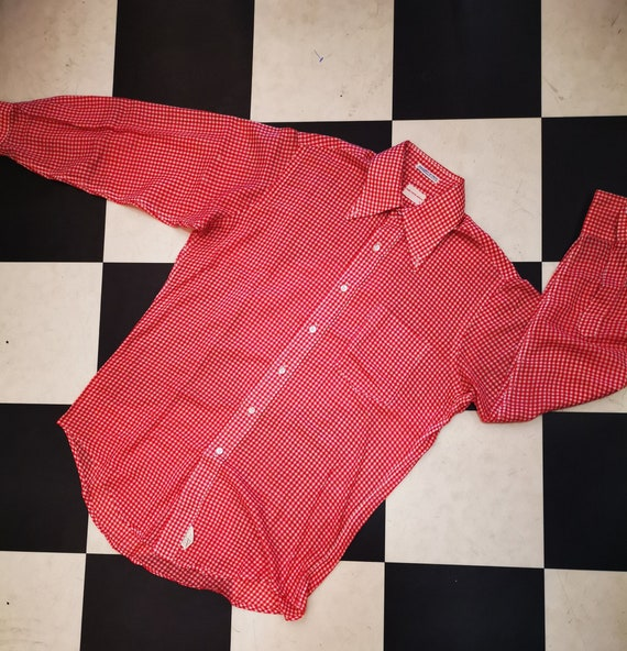 Vintage 1970s Saks Fifth Avenue Button DownRed Checked Gingham Shirt