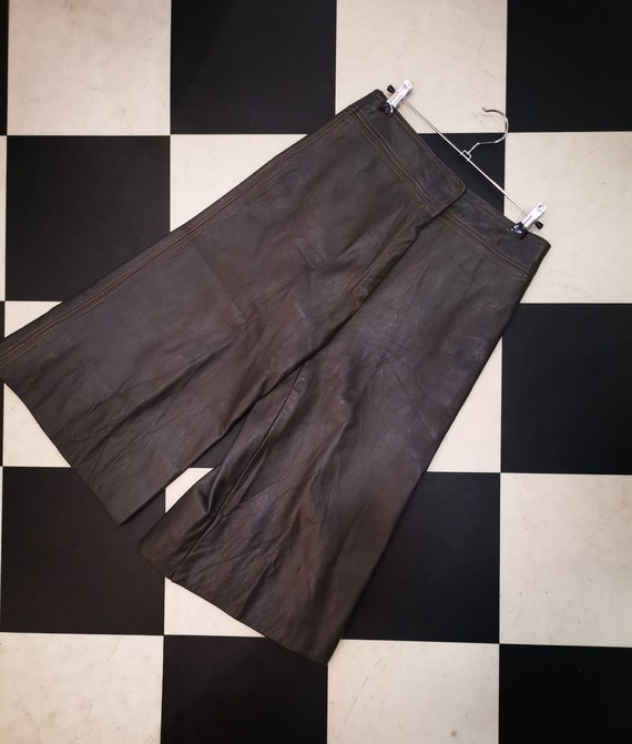 Vintage 1970s 1980s Brown Leather Culottes
