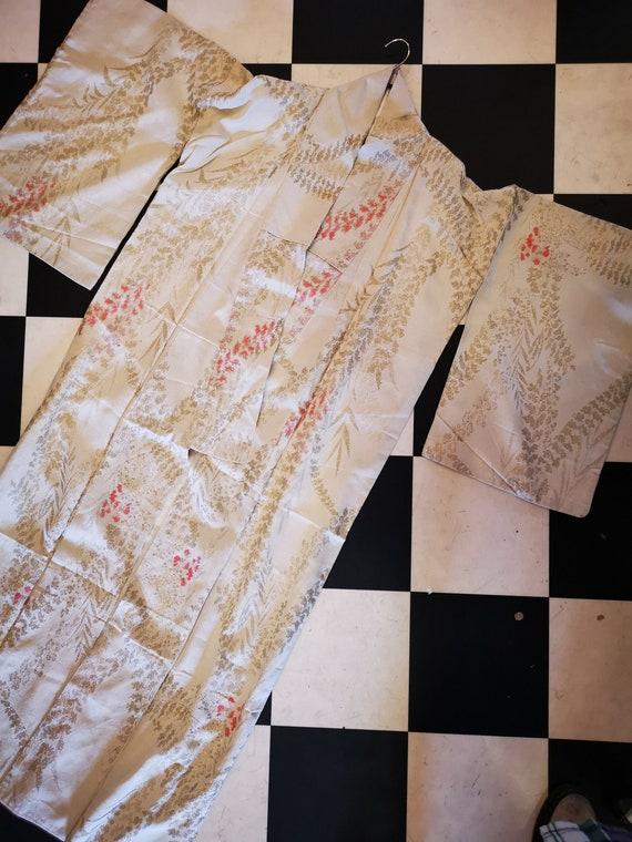 Vintage Lined Full Length Cream & Pastel Pink Kimono