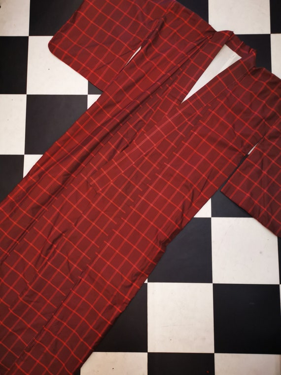 Vintage Dark Red Checked Long Kimono
