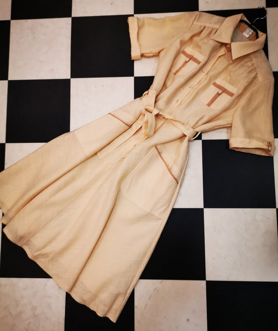Vintage 1970s Lemon with Brown Contract PipingHeavy Cotton Shirt Dress