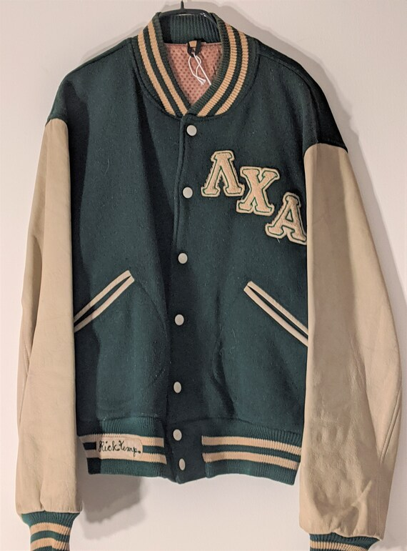 Green and cream felt and leather varsity jacket size L