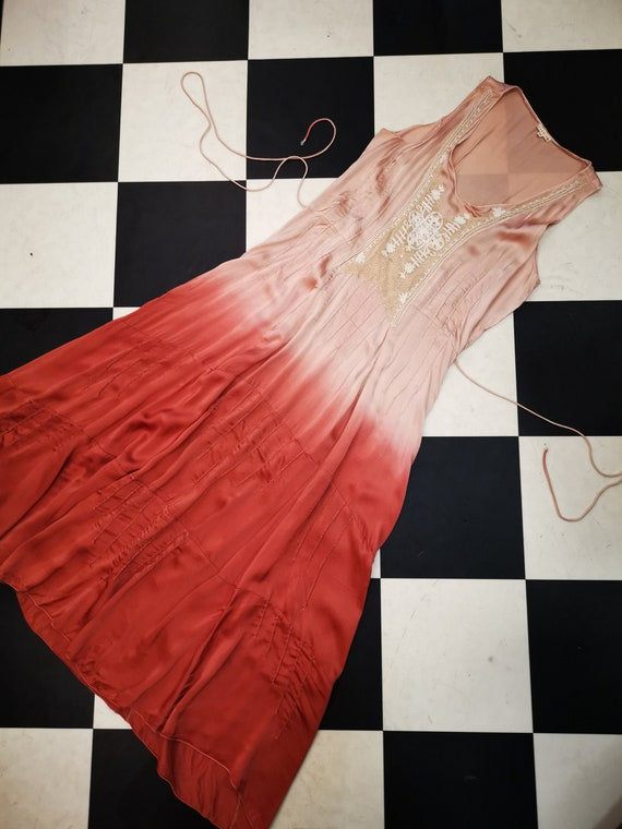 Vintage 1970s does 1930s Satin Dip Dyed Maxi Slip Dress