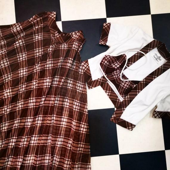 Vintage Brown Tartan Plaid 1950s 3 Piece Outfit Skirt, Bolero & Crop Top