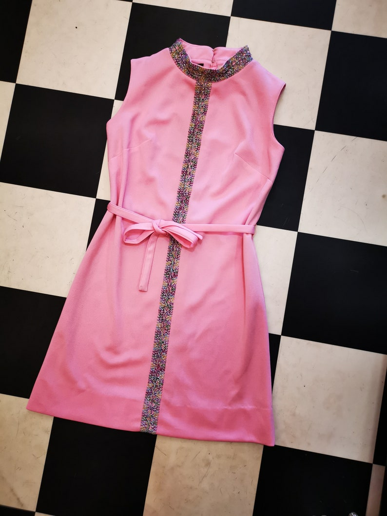 Vintage Pastel Pink 60s Mini Dress With Metallic Embellished image 0