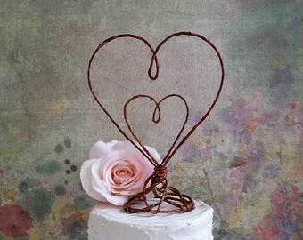 Rustic Wedding Cake Topper HEART in HEART, Rustic Wedding Cake Decoration, Rustic Wedding Centerpiece, Engagement Party, Bridal Shower Decor