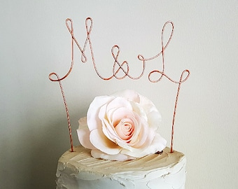 MONOGRAM Wedding Cake Topper, Initials Wedding Cake Topper, Rustic Wedding Cake Topper, Anniversary Cake Topper,Engagement Party Cake Topper