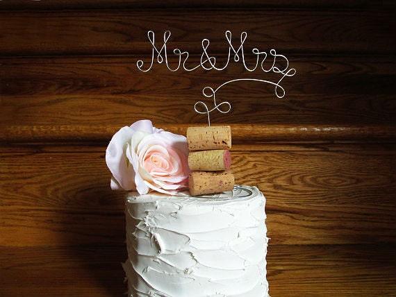 Mr Mrs Vineyard Wedding Cake Topper