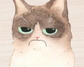 Grumpy Cat Portrait, 5x7, Print