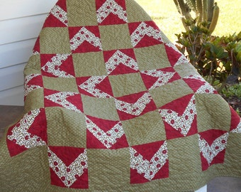 QUILT THROW BLANKET  49 x 49  inches in Green Red and White. Fabrics by Studio E designer B K Lantz and Moda Fabrics