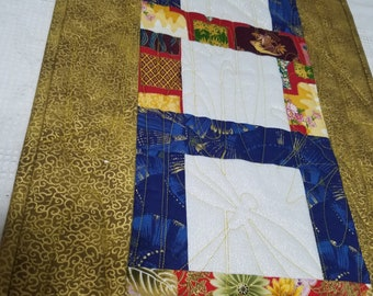 ASIAN Fabric TABLE RUNNER 13 1/2 x 86 inches worked in Gold, Red, Blue White.  Banquet or smaller table. Formal or informal setting