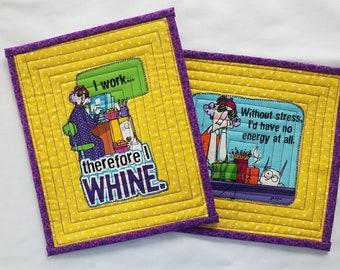 QUILTED MAXINE MugRugs SnackMats CandleMats Set of 2 approx. 9 1/2 x 10  Inches in Yellow Purple Green Brown. Perfect Office Mate Gift.