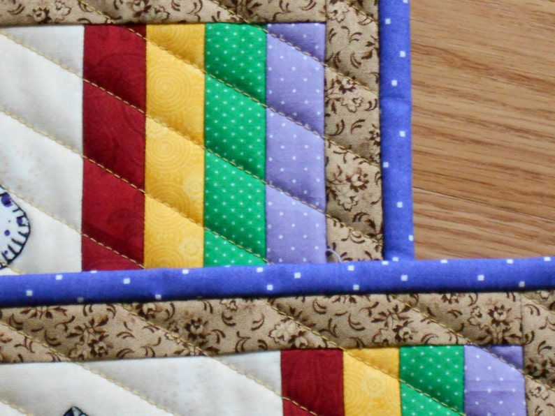 QUILTED CUPCAKE MugRug SET Snack Mat Set or Mini Placemat Set of Two in Rainbow colors measuring 7 x 11 inches