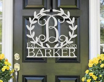 Leafy Border Last Name Monogram | Metal Monogram | Framed Family Initial | Letter Door Sign Hanger