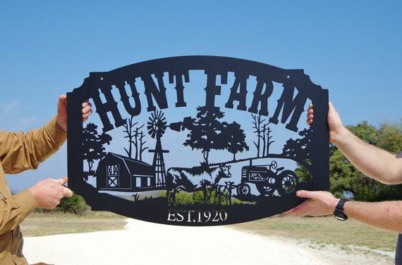 Family Name Custom Metal Farm Sign Personalized Farming