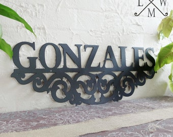 Personalized Family Name Sign Steel Scroll