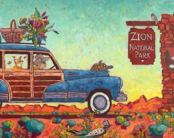 Picnic In Zion Art Print