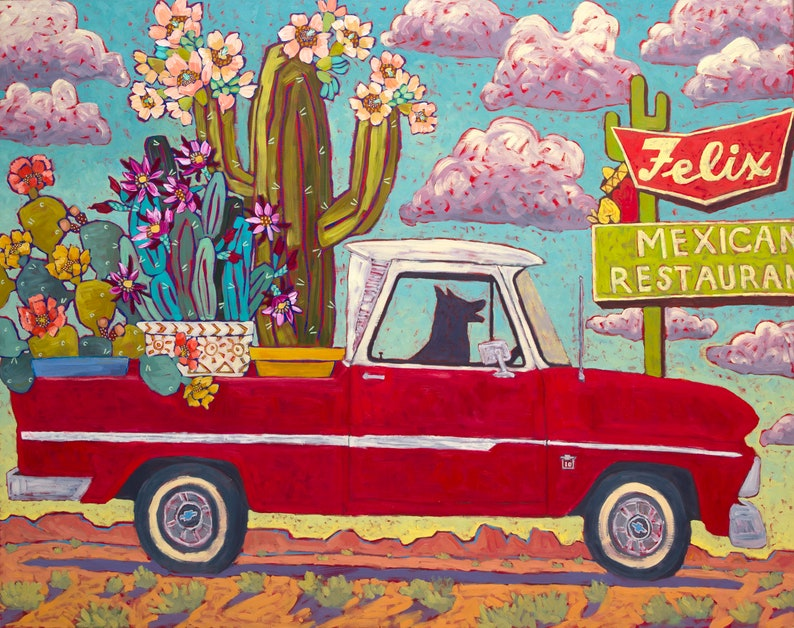 Red Truck With Cactus - Art Print, Digital, Vintage, Classic, Red, Pick-up  Truck, Cactus, Southwest, Old Sign, Black Dog