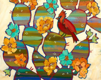 Cardinal In The Prickly Pear Cactus Metal Print