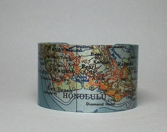 Honolulu Hawaii Oahu Map Cuff Bracelet Unique Travel Gift for Men or Women