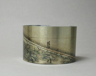 Long Beach Island New Jersey Shore Map Cuff Bracelet Custom Gift for Men or Women