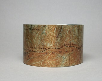 Great Smoky Mountains National Park Map Cuff Bracelet Unique Hiker Outdoorsman Gift for Men or Women