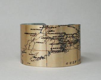 Kenai Peninsula Alaska Anchorage Seward Cuff Bracelet Map Unique Gift for Men or Women
