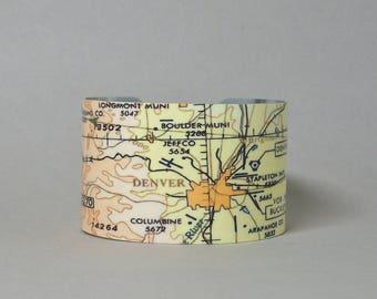 Denver Colorado Map Cuff Bracelet Unique Gift for Men or Women