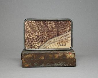 Belt Buckle Vintage Map Detroit Michigan Unique Gift for Him