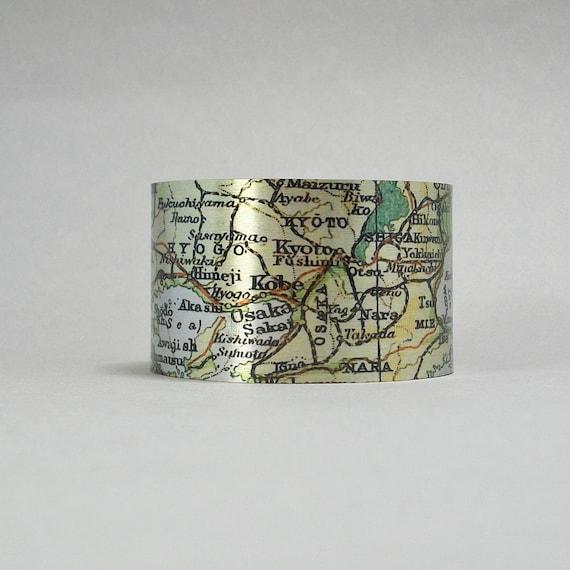 Osaka Japan Honshu Kyoto Kobe Map Cuff Bracelet Traveler Etsy