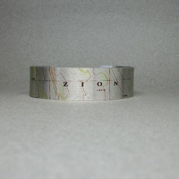 Zion National Park Utah Map Cuff Bracelet Unique Hiking Gift | Etsy