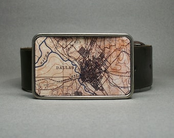 Belt Buckle Dallas Texas Vintage Map on Metal Cool Gift for Men or Women