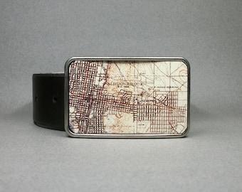 Belt Buckle Vintage Map Albuquerque New Mexico Metal Unique