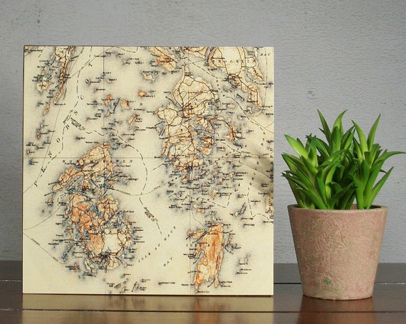 Penobscot Bay Maine Map Block Vinalhaven North Haven Travel Etsy