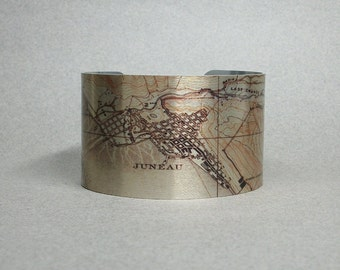 Juneau Alaska Cuff Bracelet Vintage Map Unique Gift for Men or Women