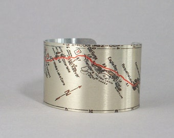 Utica New York to Long Lake Vintage Road Map Cuff Bracelet Unique Travel Gift for Men or Women