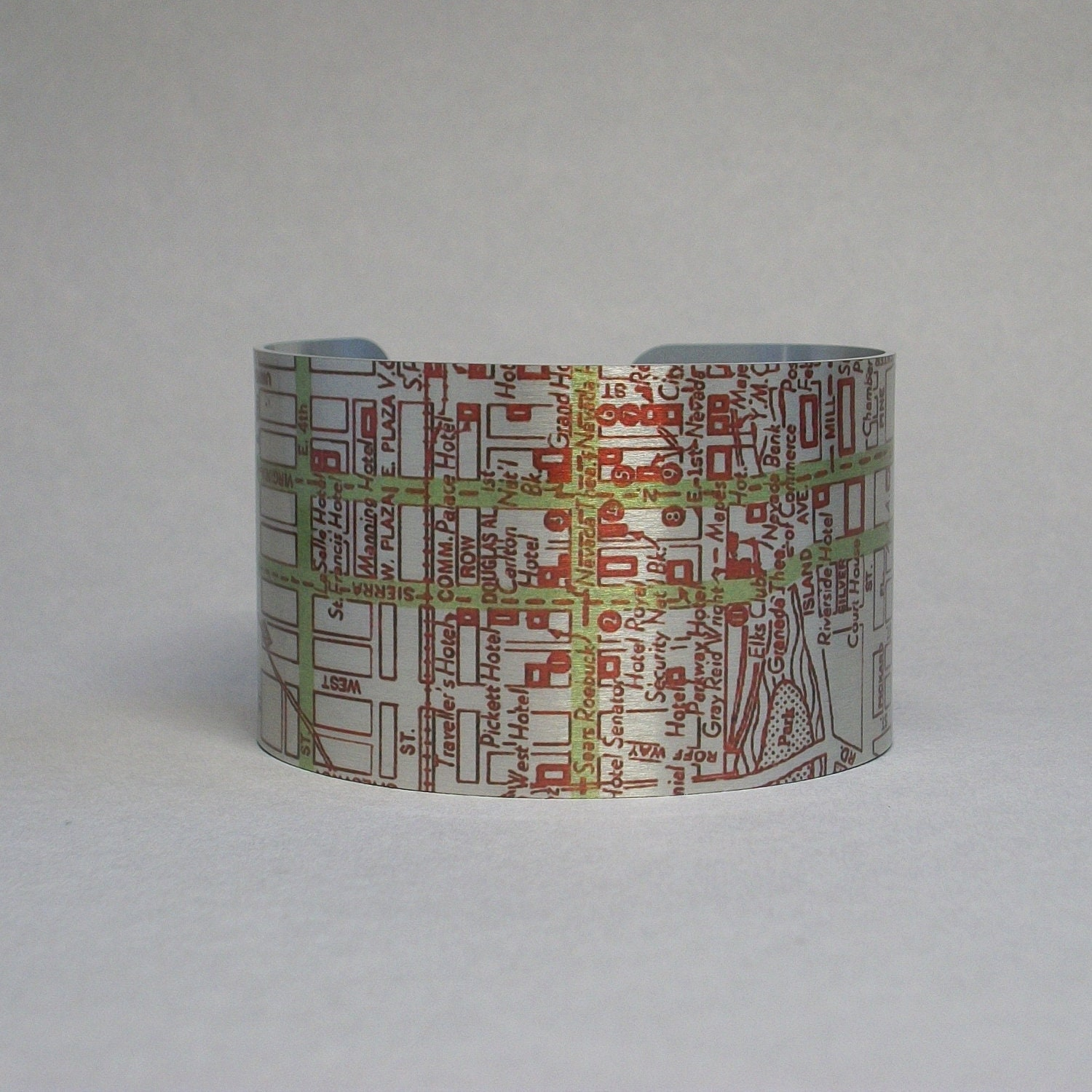 Reno Nevada Map Cuff Bracelet Unique Gift For Men Or Women Etsy