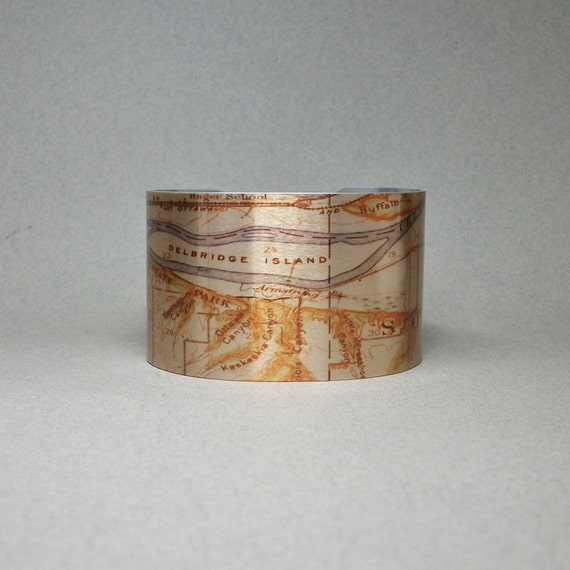 Starved Rock Illinois State Park Vintage Map Cuff Bracelet Unique Hiking  Gift for Men or Women