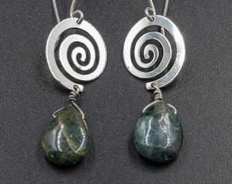 Green Jasper Gemstone and Sterling Silver Spiral Earrings, Dangle Swirl Earrings Gift for Her, Jasper Jewelry