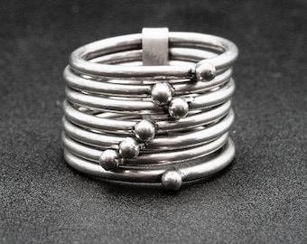 7Pcs Sterling Silver Thin Band Stacking Rings, Men/Women Geometric Rings, HandMade Boho Ring Set, Skinny Stackable Bands, Stacking Jewelry