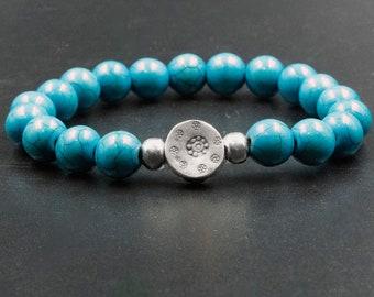 Blue Sapphire Bracelet,Womens Bracelet,Turquoise Howlite,Beaded Bracelet White Howlite,Mens bracelet Anniversary gift,Turquoise Birthstone