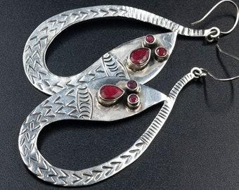 Handmade Sterling Silver Snake Big Earrings with Natural Red Rubies, Boho Serpent Earrings, Snake Jewelry, Reptile Earrings Gift for Her