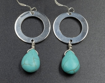 Turquoise Blue Howlite Gemstone and Sterling Silver Ring Earrings, Dangle Circle Earrings Gift for Her, Turquoise Jewelry