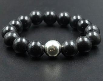 Black Obsidian Bracelet, Stretch Men/Women Black Bead Bracelet with Sterling Silver Bead, Stacking Boho Bracelet, Healing Mens Jewelry