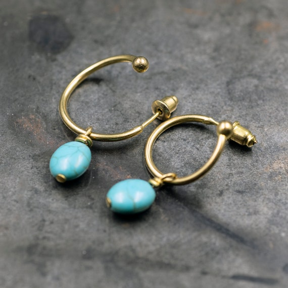 Boho Hoop Earrings Pink Puka Shell Hoop Earrings Shell Earrings Stone Chip Earrings Turquoise Chip Hoops Mermaid Earrings