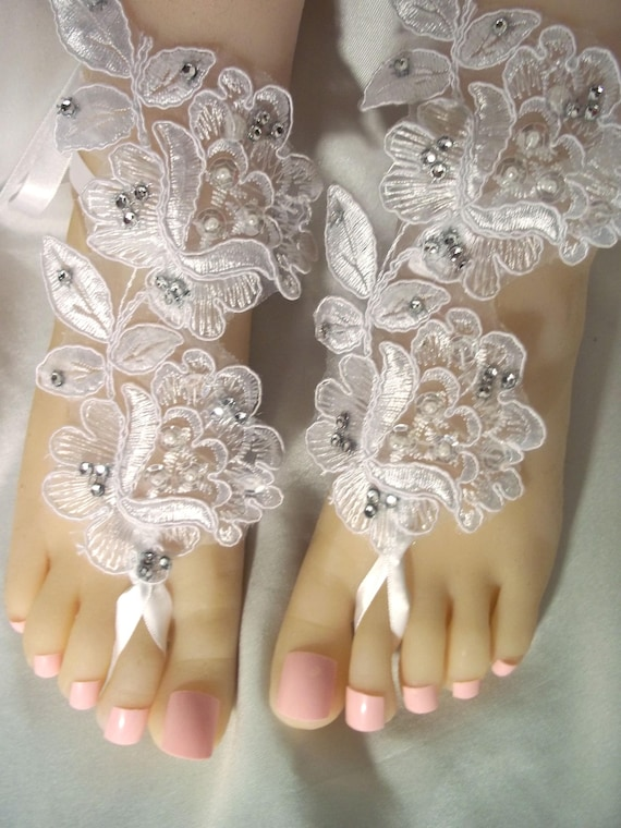 8a863543fa31b White Lace   Rhinestone Barefoot Sandals White Flower Lace