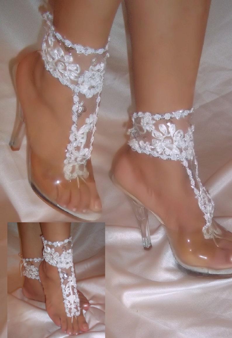 52d7368e5045 Barefoot Sandals Wedding Sandals White Lace Barefoot